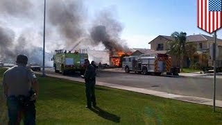 California US military plane crash: homes on fire, no injuries reported