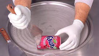 Fanta Cherry Ice Cream Rolls | how to make Fanta to Ice Cream - fast ASMR Hand Sounds & Movements
