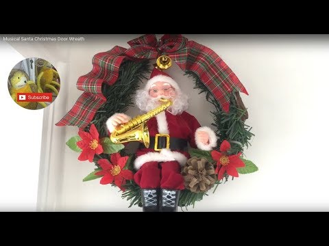 Musical Moving Santa Christmas Door Wreath - Plays Jingle Bells Music