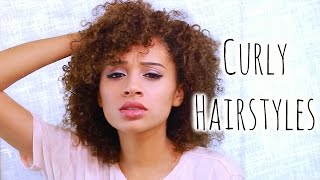 5 Easy CURLY Hairstyles For School