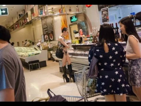 Shopper causes a stir on social media for wearing raunchy clothing at a Chinese mall