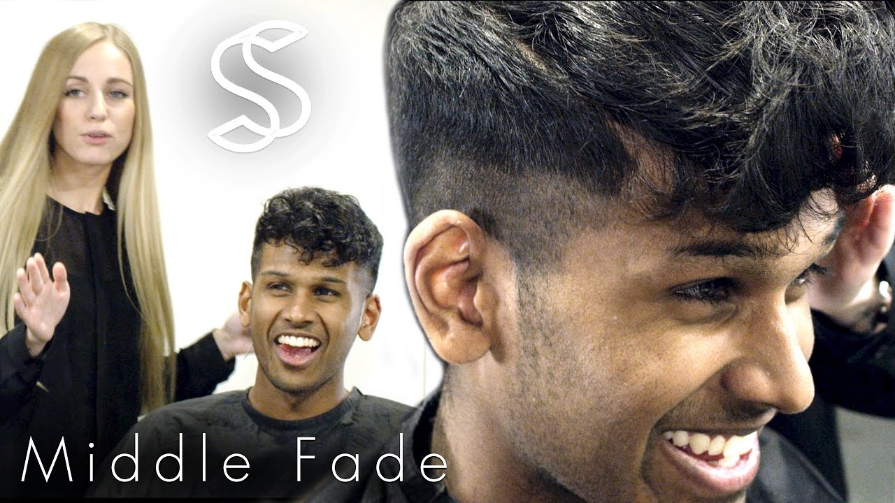 Fade Hairstyle Curly Fringe For Men Barber Hairdresser Haircut