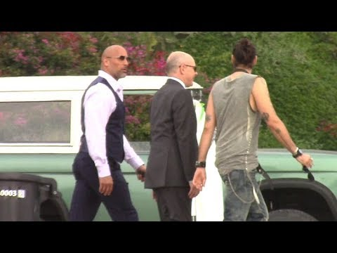 Dwayne 'The Rock' Johnson And Russell Brand Film 'Ballers' In Malibu