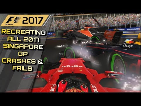 F1 2017 GAME: RECREATING ALL THE 2017 SINGAPORE GP CRASHES, FAILS & MISTAKES
