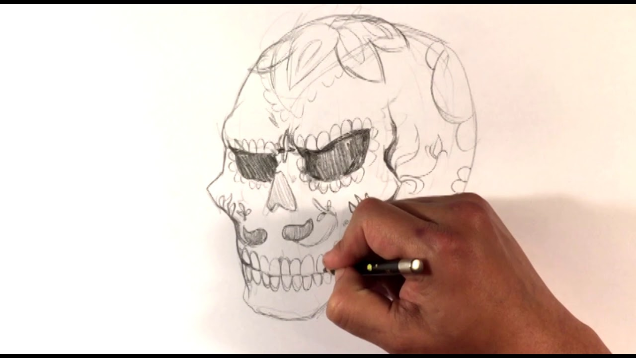 0bd2e9fa7 DRAWING Video - Day of the Dead Skull - Draw Tattoo - YouTube