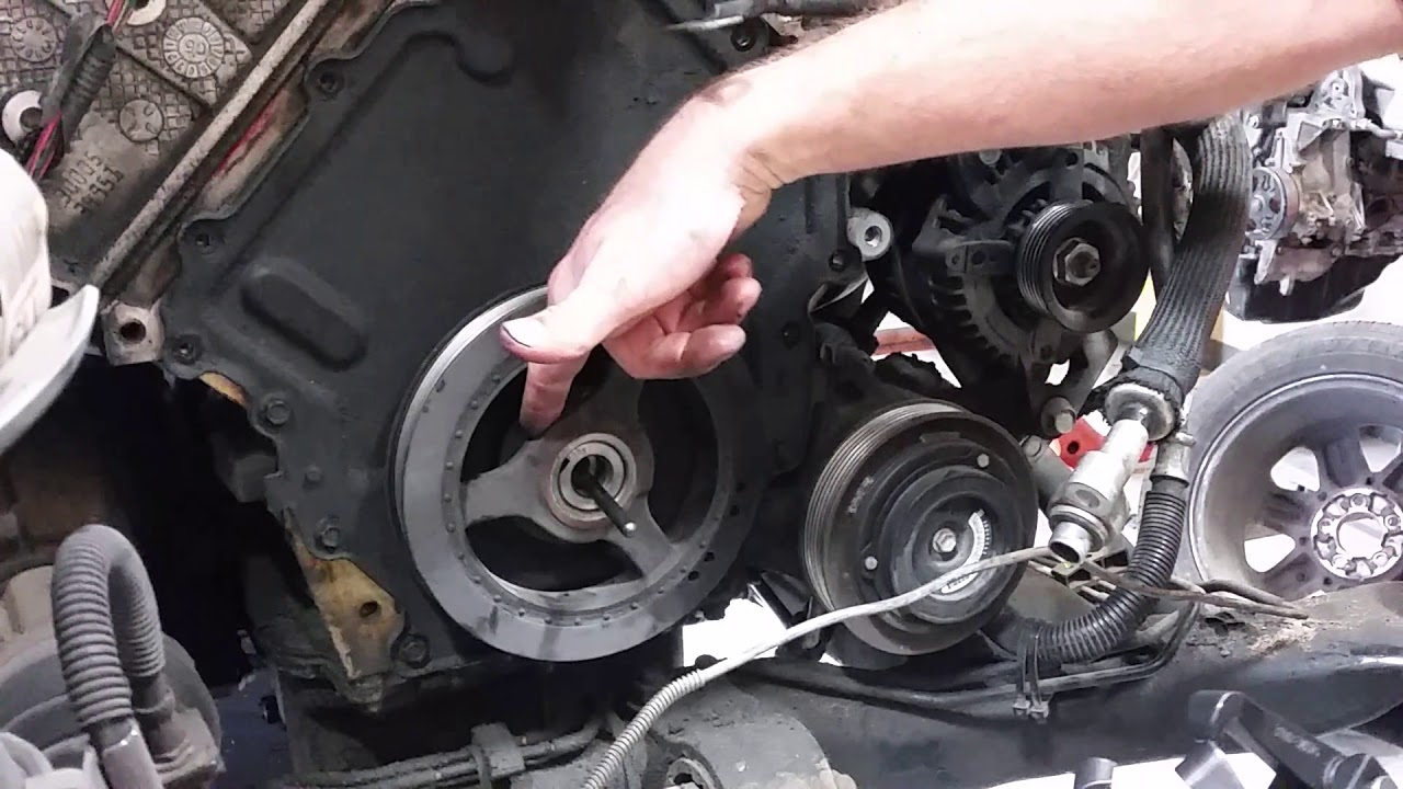 how to remove a harmonic balancer aka crankshaft pulley on caddilac northstar  4 6