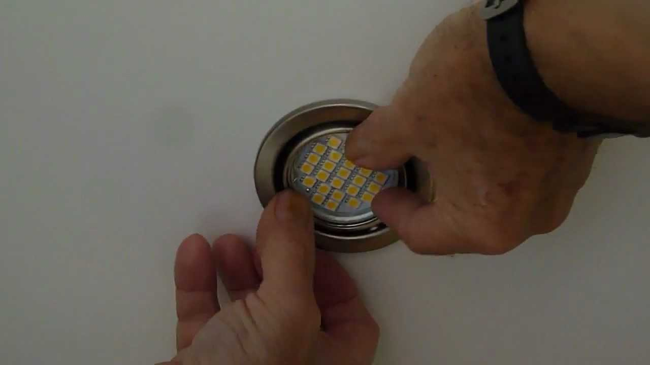 Changing a GU10 bulb for a 5 watt Led bulb with new chip technology - YouTube : changing bulbs in recessed ceiling lights - azcodes.com
