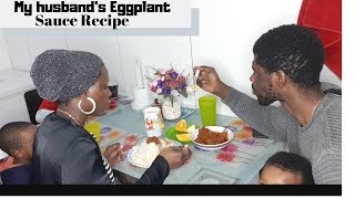 Cook and Eat Nigerian dinner with us | Cooking and eating Eggplant Sauce for the first time