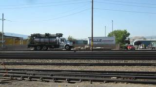 union pacific railroad 5279 idles as weed sprayer moves in background sparks nv 6 1 2012