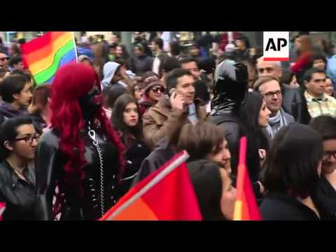 Eight lesbian, gay, bisexual, and transgender organisations march through Santiago
