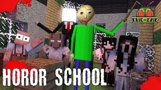 Monster School : HOROR SCHOOL BALDI'S GRANNY GRANDPA SLENDRINA SLENDERMAN JEFF Minecraft Animation
