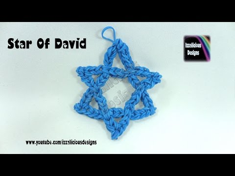 Rainbow Loom (Chanukah/Hanukkah) Star Of David Decorative Charm - loom-less/hook only