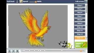 a phoenix bird of flames drawing lesson