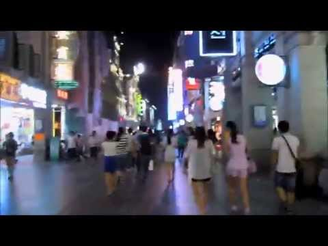 Walk in guangzhou china shangxiajiu road at night