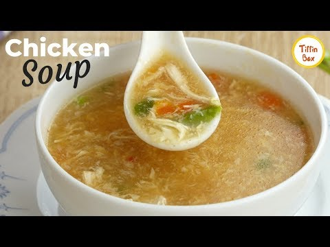 Delicious Chicken soup | Chicken-vegetable egg drop soup for Kids lunch by tiffin Box, চিকেন স্যুপ