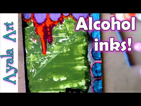 Make an abstract painting | alcohol inks technique | stencils and stamps | art Collaboration