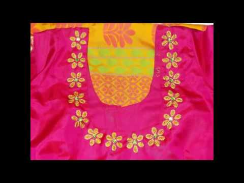 How To Decorate The Blouse Neck With Simple Hand Work Youtube