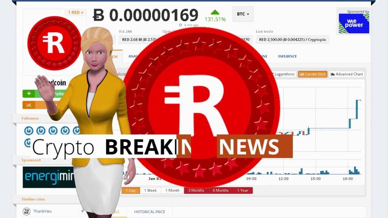 Cryptocurrency Redcoin $RED Gained 131% Over the Last 24 Hours