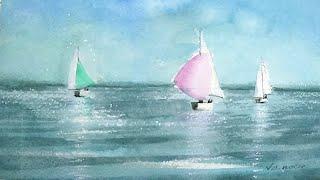 Three Sailboats Watercolor Painting - Slow Life Art - By Vamos