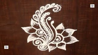 Simple Kolam / rangoli Design without using Dots || maitrin 2018
