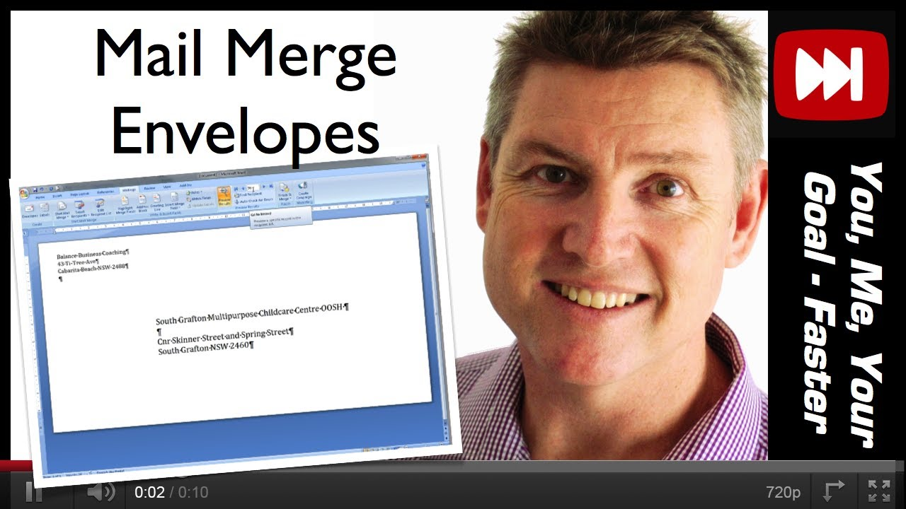 How to mail merge print envelopes using ms excel and word youtube how to mail merge print envelopes using ms excel and word stopboris Image collections