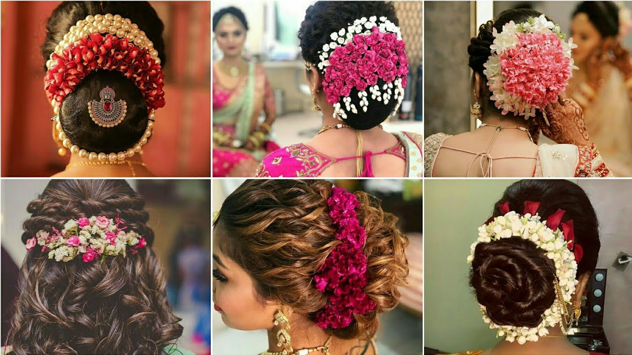 latest gajra hairstyle for wedding|flowers hairstyle design