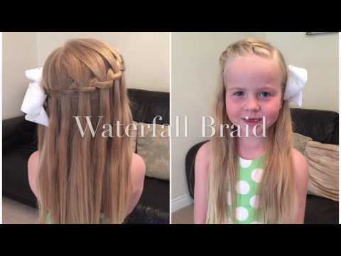 Simple Waterfall Braid Hair Tutorial by Two Little Girls Hairstyles