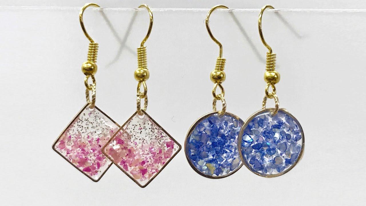 【UVレジン 100均】初めてピアスつくってみました! 【初心者】Resin Jewelry Crash shell earrings
