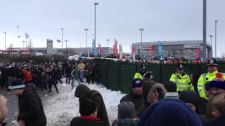 Download Video Epic snowball fight between Manchester City fans at Stoke away MP3 3GP MP4