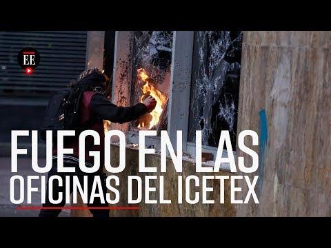 Marcha pacífica de estudiantes fue opacada por ataques al Icetex - El Espectador