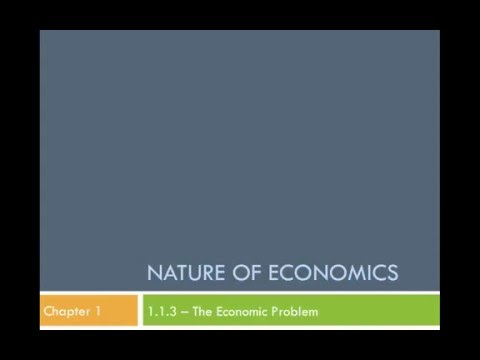 The Economic Problem - Scarcity, (Non)Renewable resources, Opportunity Cost