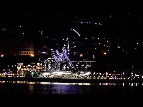 Baku FlameTowers in the Night from Sea in 4K