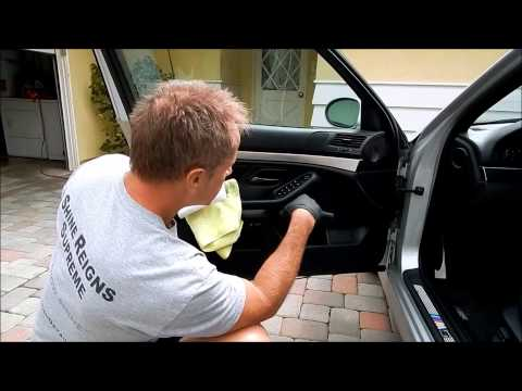 Car Interior Cleaning: Using customers BMW M5 to clean leather/plastic door panel