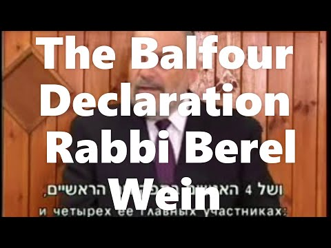 the Balfour Declaration Rabbi Berel Wein MOST INGENIOUS