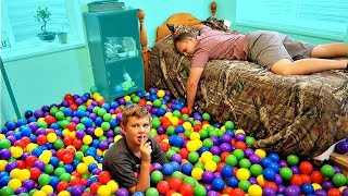 BALL PIT BALLS PRANK! Filled His Room with Ball Pit Balls