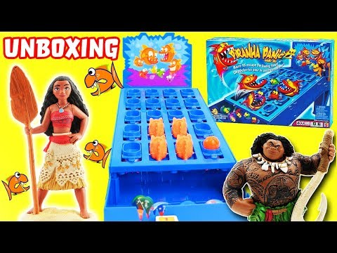 Piranha Panic Game Unboxing with Moana & Maui! Learn Colors and Have Fun Playing!