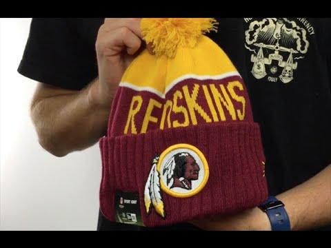 1ca6b353 Redskins '2015 STADIUM' Burgundy-Gold Knit Beanie Hat by New Era