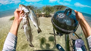 Trout Catch and Cook on Micro Private island