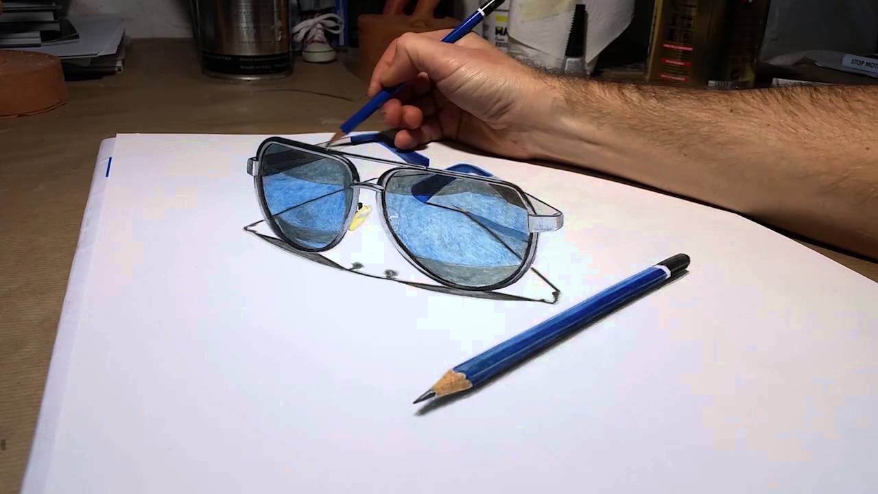05fe01ada3ea Drawing time lapse my sunglasses and pencil 4B - 3D Art - YouTube