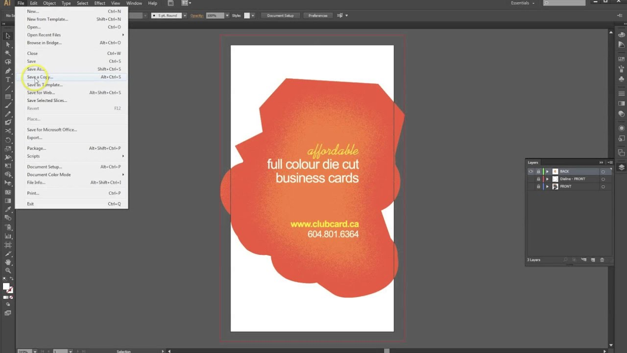 how to set up a cut business card or sticker in adobe