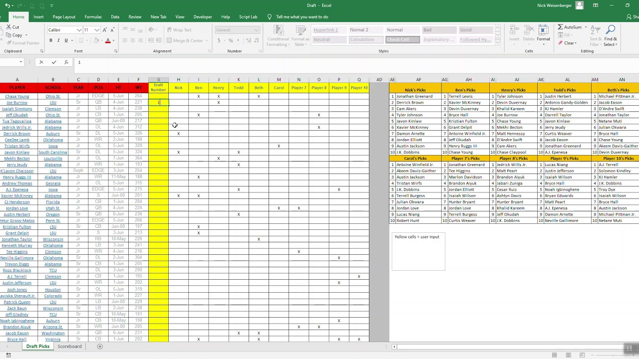 2020 Nfl Draft Game In Excel Youtube Fantasy football draft spreadsheet template