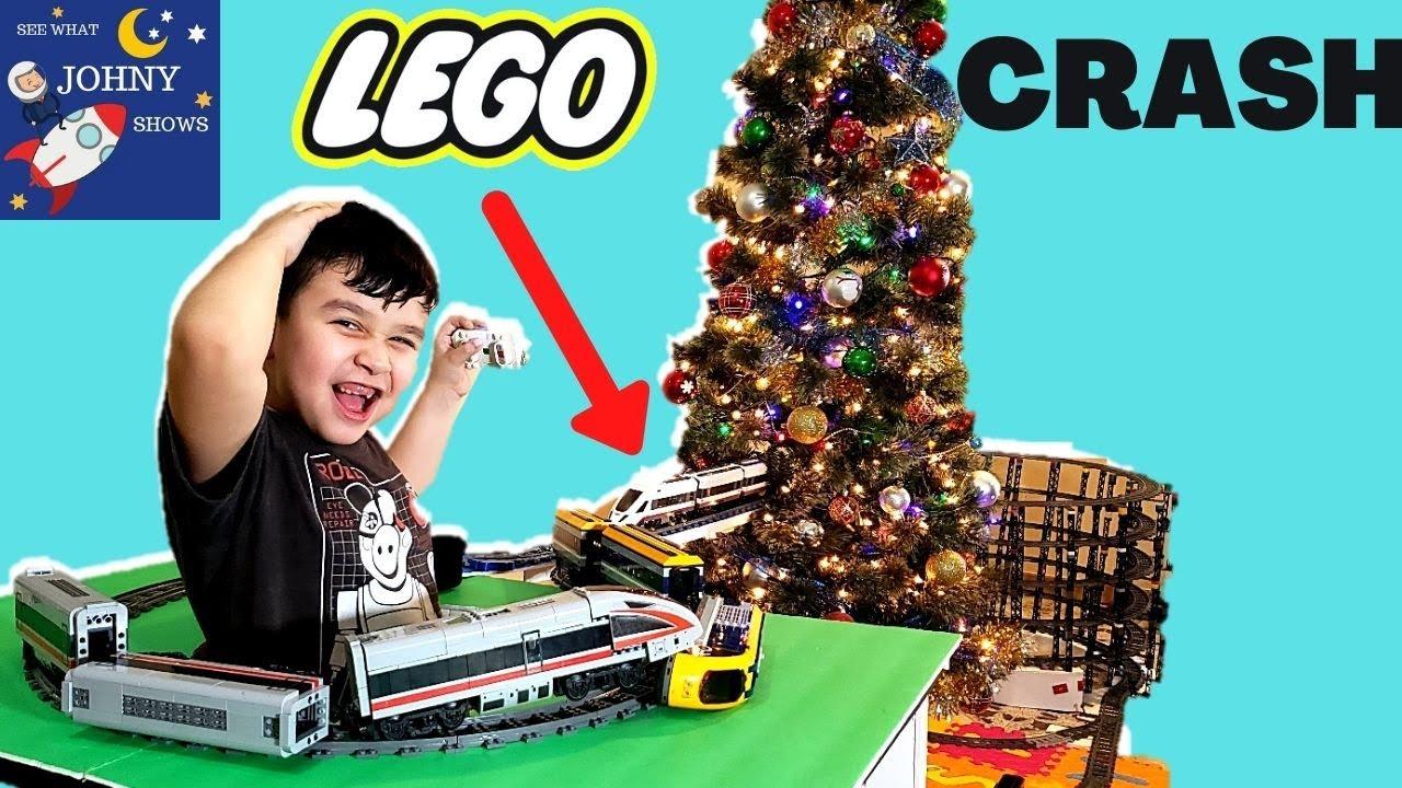 Johny's NEW GIANT LEGO Train Track Layout With NEW Lego Train Crashing LEGO CITY