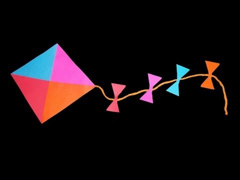 ☄How to make a decorative paper kite - simplekidscrafts - simplekidscrafts