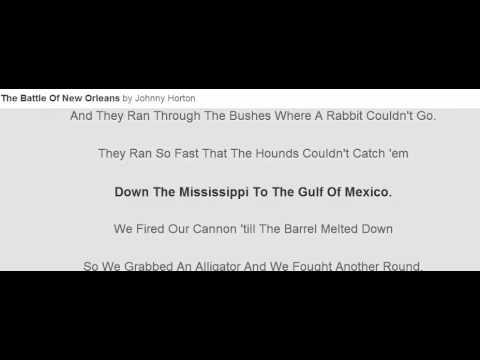 The Battle Of New Orleans Lyrics