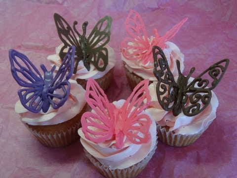"Decorating Cupcakes #120: Butterflies and ""Love Mom"" decorations (For Mother"