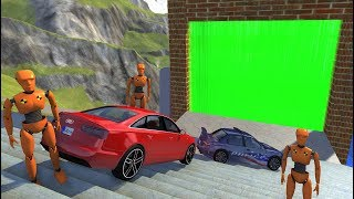 Crazy Vehicle Stairs Jumps Down Through Green Slime Water Wall In Empty Pool - BeamNG drive Stairs