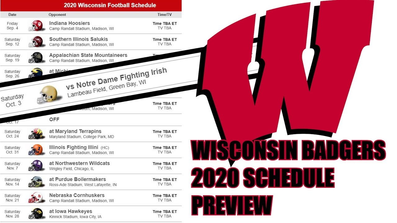 wi badger football schedule 2020