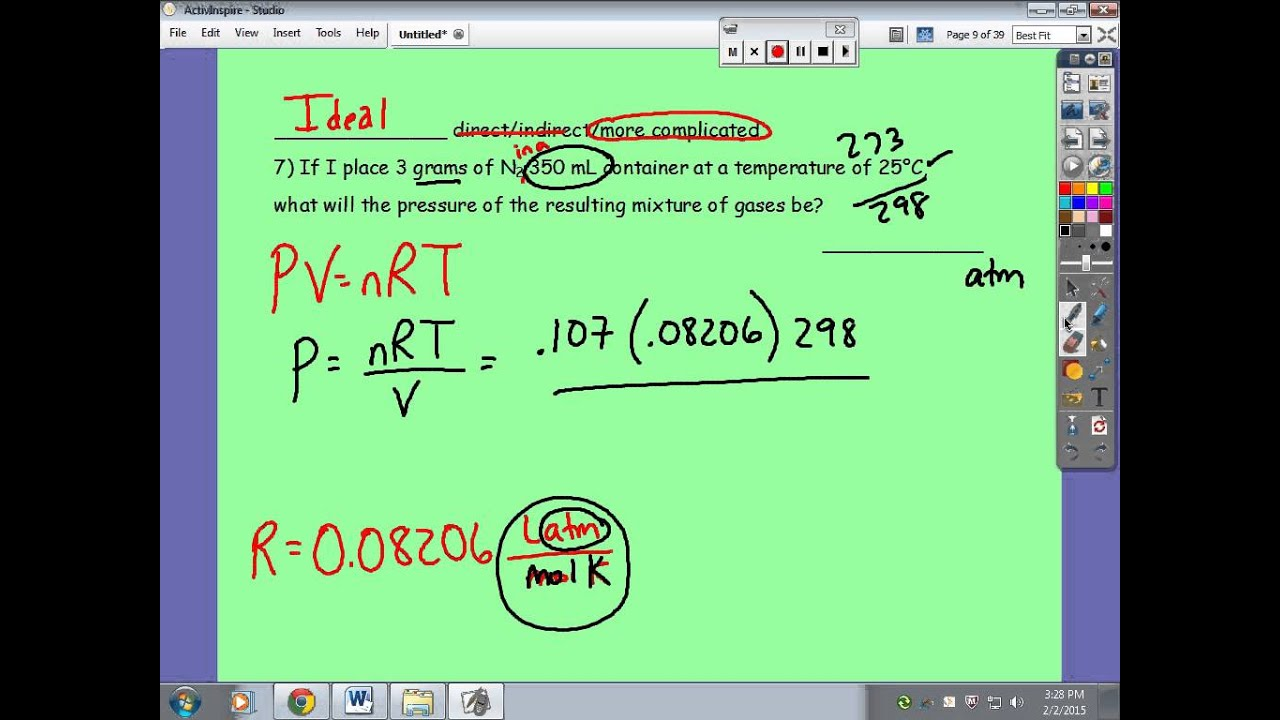Gas Laws Test Review Part 1 of 2: Answers to Practice for Gas Laws Mini-Test