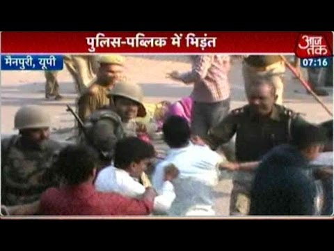 Public Clash With Police In Mainpuri