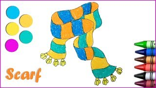 How to draw a Scarf | Drawing and Coloring pages | Kids learn colors